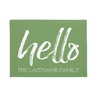 Whimsical Custom Family Hello - CAN EDIT COLOR Doormat