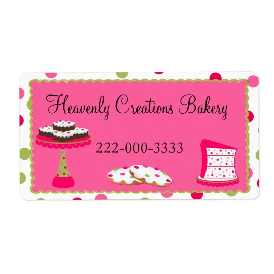 Whimsical Custom Pink & Green Bakery Label