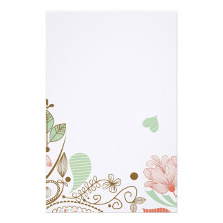 Whimsical & Cute Abstract Floral Stationary Custom Stationery