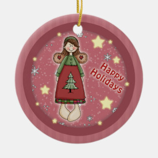 Whimsical cute Christmas angel stars Ceramic Ornament