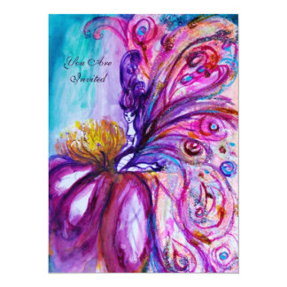 WHIMSICAL CUTE FLOWER FAIRY IN PINK,GOLD SPARKLES CARD