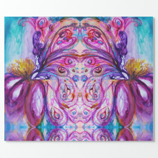 WHIMSICAL CUTE FLOWER FAIRY PINK PURPLE BLUE WINGS WRAPPING PAPER