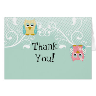 Whimsical Cute Fun Swirl Owl Owls Baby Thank You Card