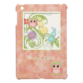 Whimsical Cute Owls Tree of Life Heart Leaf Swirls iPad Mini Cover