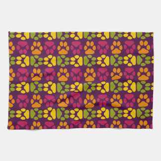 Whimsical Cute Paws Pattern Kitchen Towel