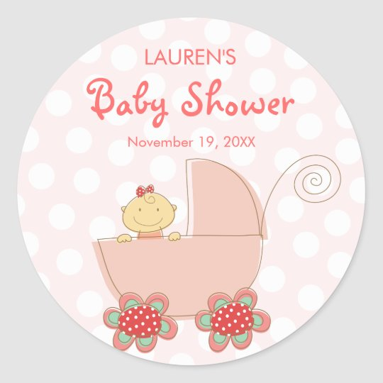 Whimsical Cute Pink Pram Girl Baby Shower Stickers