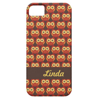 Whimsical Cute Red Owl Pattern 1 iPhone 5 Case