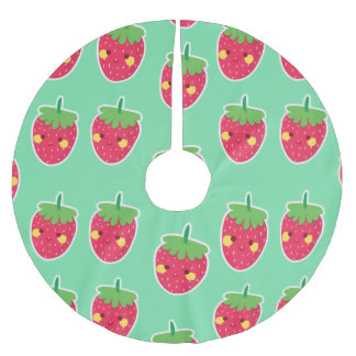 Whimsical Cute Strawberries character pattern Brushed Polyester Tree Skirt