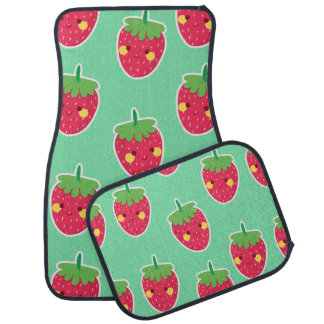 Whimsical Cute Strawberries character pattern Floor Mat