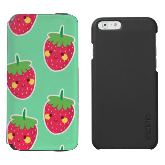 Whimsical Cute Strawberries character pattern Incipio Watson™ iPhone 6 Wallet Case