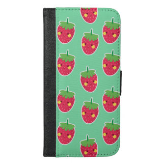 Whimsical Cute Strawberries character pattern iPhone 6/6s Plus Wallet Case