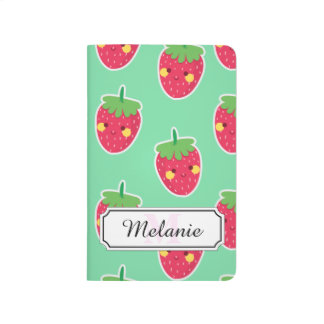 Whimsical Cute Strawberries character pattern Journal