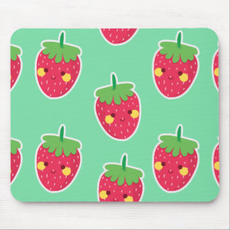 Whimsical Cute Strawberries character pattern Mouse Pad