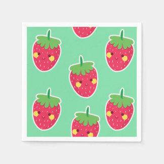 Whimsical Cute Strawberries character pattern Paper Napkins