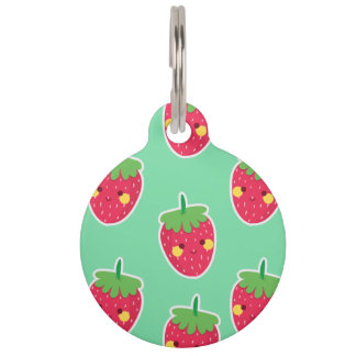 Whimsical Cute Strawberries character pattern Pet Name Tag