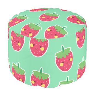 Whimsical Cute Strawberries character pattern Pouf