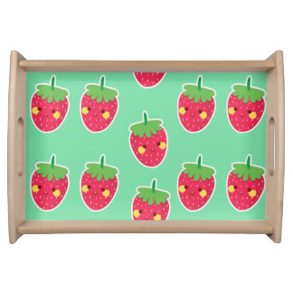 Whimsical Cute Strawberries character pattern Serving Tray