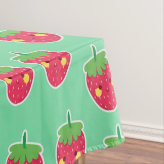 Whimsical Cute Strawberries character pattern Tablecloth