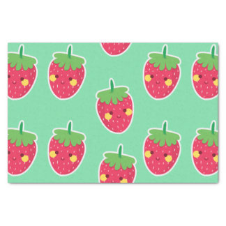 Whimsical Cute Strawberries character pattern Tissue Paper