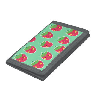 Whimsical Cute Strawberries character pattern Trifold Wallet