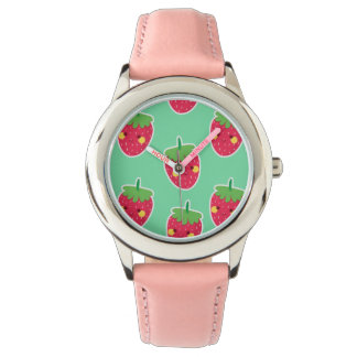 Whimsical Cute Strawberries character pattern Watch