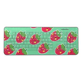 Whimsical Cute Strawberries character pattern Wireless Keyboard