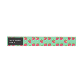 Whimsical Cute Strawberries character pattern Wraparound Address Label