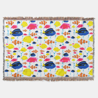 Whimsical Cute Tropical Fish and Bubbles Throw Blanket