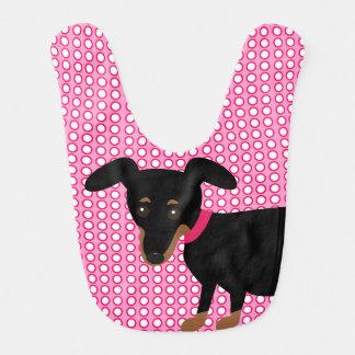 Whimsical Dachshund Polka Dot Baby Bib