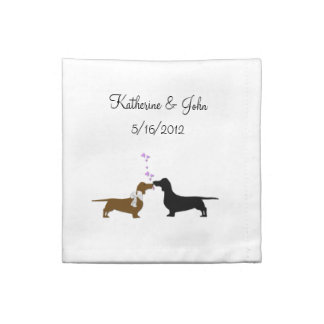 Whimsical Dachshund Wedding Cloth Napkins
