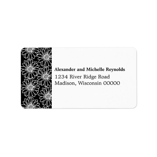 Whimsical Daisies Address Labels, Black