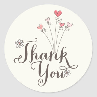 Whimsical Daisies Love Girl 1st Birthday Thank You Round Sticker