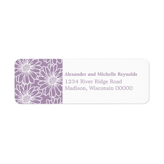 Whimsical Daisies Return Address Labels, Purple