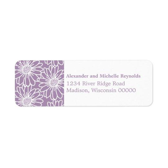 Whimsical Daisies Return Address Labels, Purple Return Address Label