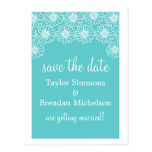 Whimsical Daisies Save the Date Postcard, Aqua Postcard