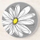 Whimsical Daisy in grey and yellow Coaster