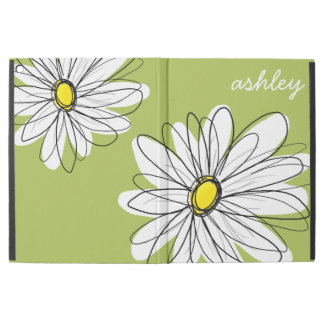 Whimsical Daisy with Lime Green Background