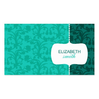 Whimsical Damask Blue Business Card