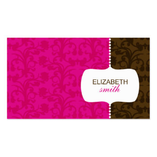 Whimsical Damask Pink/Brown Business Card