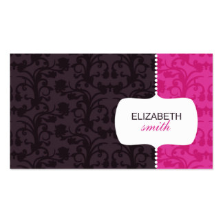 Whimsical Damask Pink/Grey Business Card