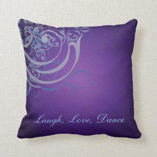 Whimsical Dance Blue Scroll Purple Mojo Pillow