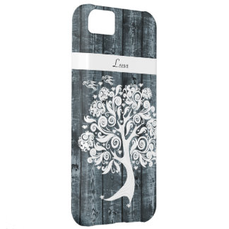 Whimsical Dancing Tree Blue Wood Personalized Cover For iPhone 5C