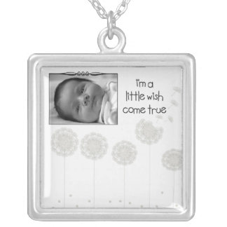 Whimsical Dandelion Seed Wish Come True Baby Photo Silver Plated Necklace