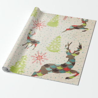 Whimsical Deer, Snowflakes, Trees Wrapping Paper