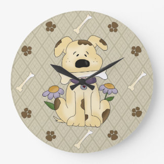 Whimsical Dog with Bone Wall Clock