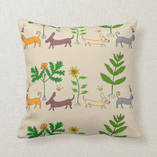 Whimsical Dogs Cats and Plants Throw Pillow