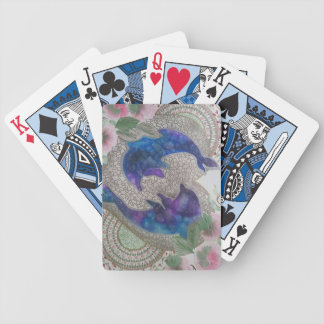 Whimsical dolphins bicycle playing cards