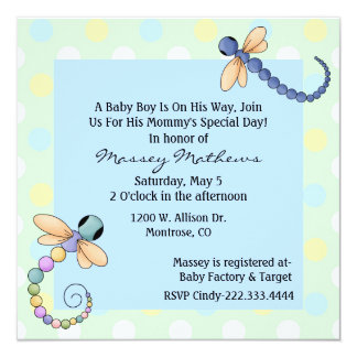 Whimsical Dragonflies Baby Boy Shower Invitation
