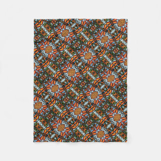 Whimsical Dragonflies Blue Orange Pattern Fleece Blanket