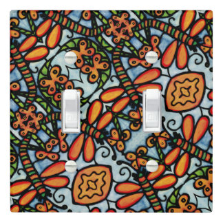 Whimsical Dragonflies Blue Orange Pattern Light Switch Cover